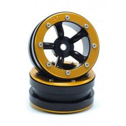 Ruote Beadlock PT-Safari Nero / Oro 1.9 (2 pezzi)
